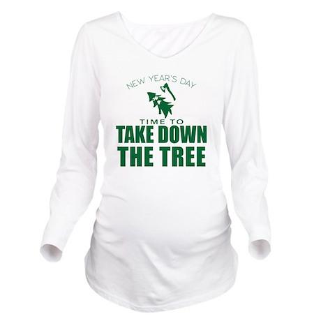 MSU Rose Bowl Green Tree Long Sleeve Maternity T-S