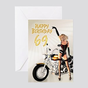 69th Birthday card with a motorbike girl Greeting
