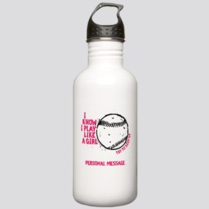Personalized Softball Girl Stainless Water Bottle