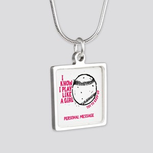Personalized Softball Girl Silver Square Necklace