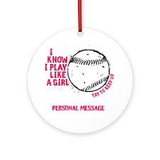 Personalized Softball Girl Ornament (Round)