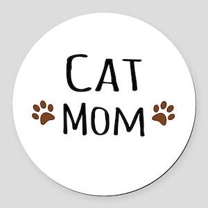 Cat Mom Round Car Magnet