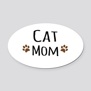 Cat Mom Oval Car Magnet