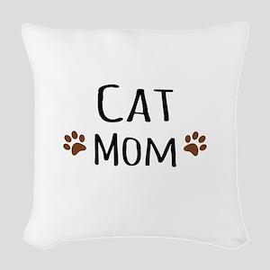 Cat Mom Woven Throw Pillow