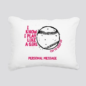 Personalized Softball Like a Girl Rectangular Canv