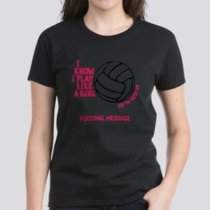 Personalized Volleyball Girl Women's Dark T-Shirt