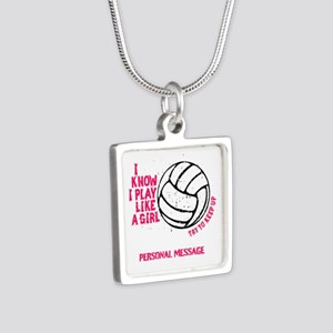 Personalized Volleyball Girl Silver Square Necklac