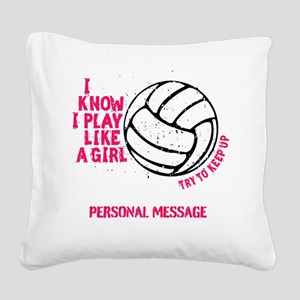 Personalized Volleyball Girl Square Canvas Pillow