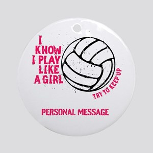Personalized Volleyball Girl Ornament (Round)