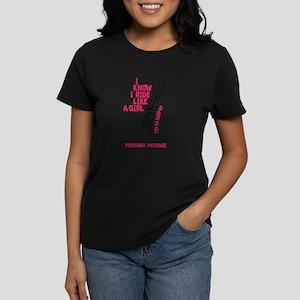 Personalized Cycling Girl Women's Dark T-Shirt