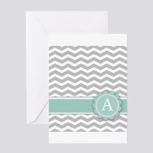 Letter A Mint Monogram Grey Chevron Greeting Cards