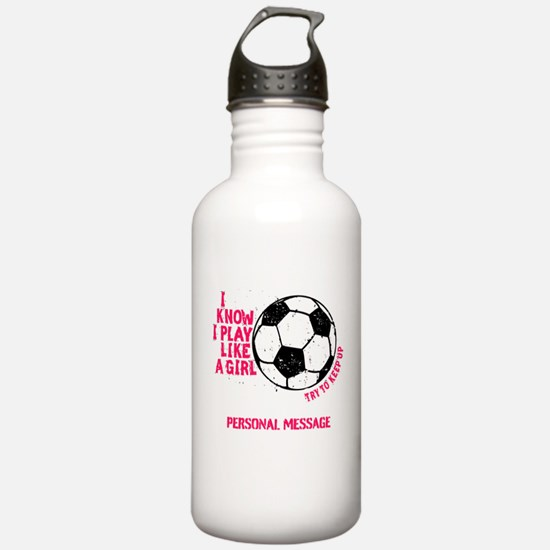 Personalized Soccer Girl Water Bottle