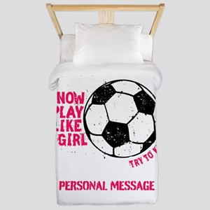 Personalized Soccer Girl Twin Duvet