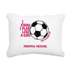 Personalized Soccer Girl Rectangular Canvas Pillow