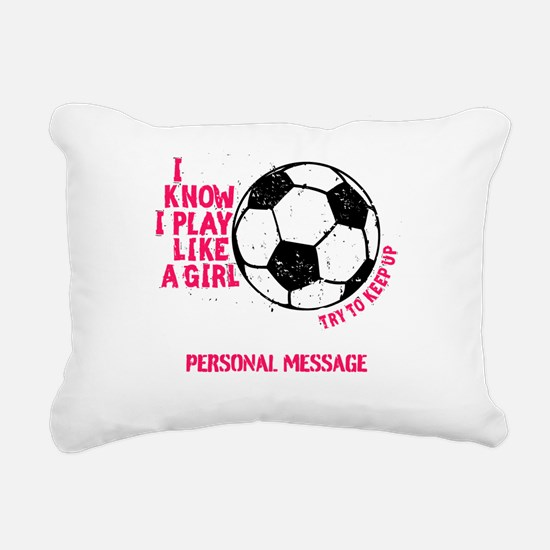 Personalized Soccer Girl Rectangular Canvas Pillow