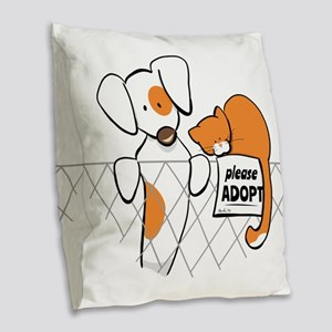 Adopt Pets Patch Rusty Burlap Throw Pillow