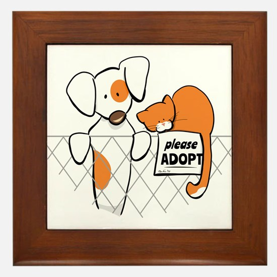 Adopt Pets Patch Rusty Framed Tile