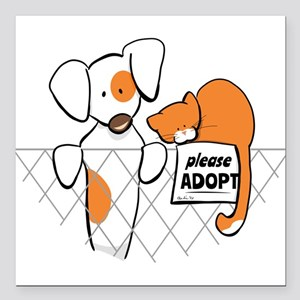 "Adopt Pets Patch Rusty Square Car Magnet 3"" x 3"""