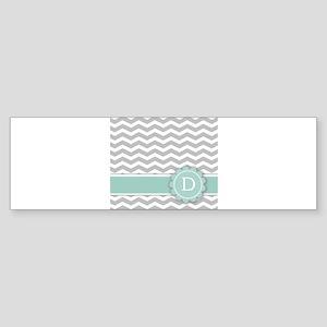 Letter D Mint Monogram Grey Chevron Bumper Sticker