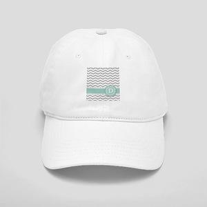 Letter D Mint Monogram Grey Chevron Baseball Cap