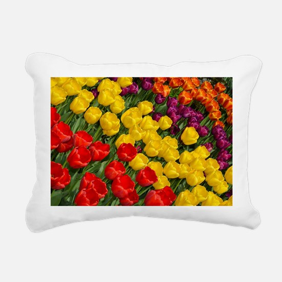 Colorful spring tulips i Rectangular Canvas Pillow
