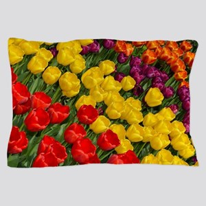 Colorful spring tulips in rows Pillow Case