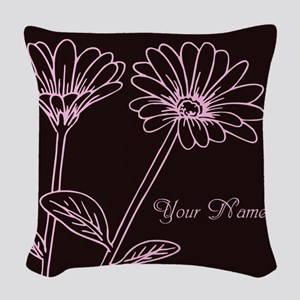 Daisy Personalized Name Woven Throw Pillow