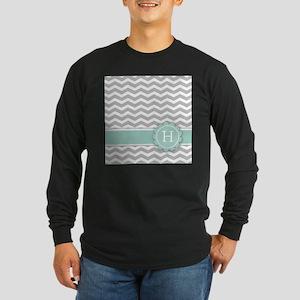 Letter H Mint Monogram Grey Chevron Long Sleeve T-