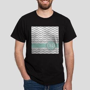 Letter H Mint Monogram Grey Chevron T-Shirt