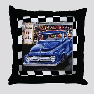 Checkered Old Truck Throw Pillow