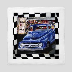 Checkered Old Truck Queen Duvet