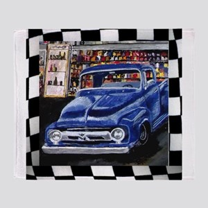 Checkered Old Truck Throw Blanket