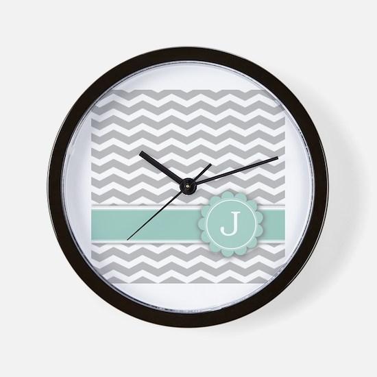 Letter J Mint Monogram Grey Chevron Wall Clock