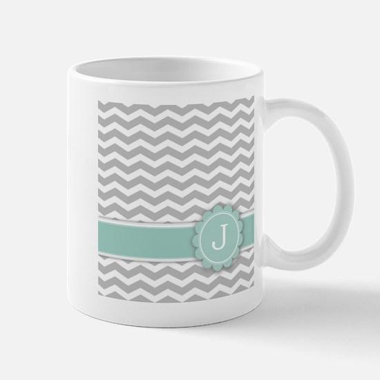 Letter J Mint Monogram Grey Chevron Mugs