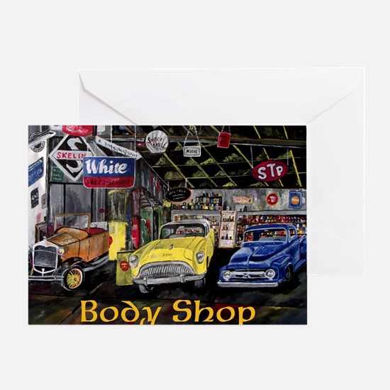Classic Car Body Shop Calender Greeting Cards