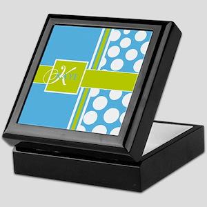 Sky Blue Green Polka Dots Monogram Keepsake Box