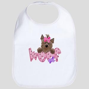 Yorkie Pink Woof! Bib