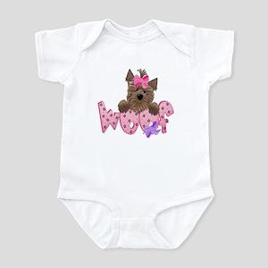 Yorkie Pink Woof! Baby/Toddler Bodysuit