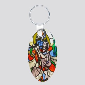 Radha and Krishna Aluminum Oval Keychain