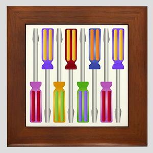 Colorful Screwdrivers Framed Tile