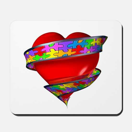 Red Heart w/ Ribbon Mousepad