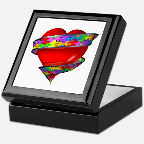 Red Heart w/ Ribbon Keepsake Box