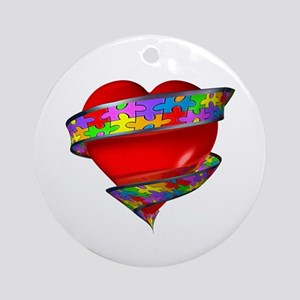 Red Heart w/ Ribbon Ornament (Round)