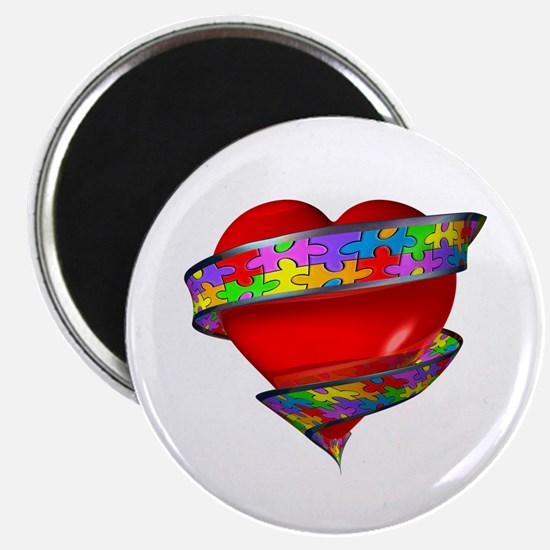 Red Heart w/ Ribbon Magnet