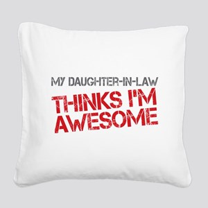 Daughter-In-Law Awesome Square Canvas Pillow