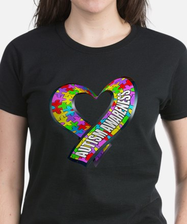 Puzzle Ribbon Heart Women's Dark T-Shirt
