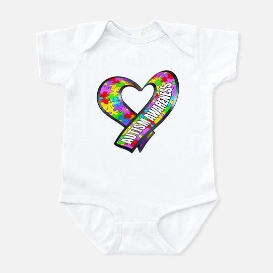 Puzzle Ribbon Heart Infant Bodysuit