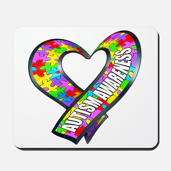 Puzzle Ribbon Heart Mousepad