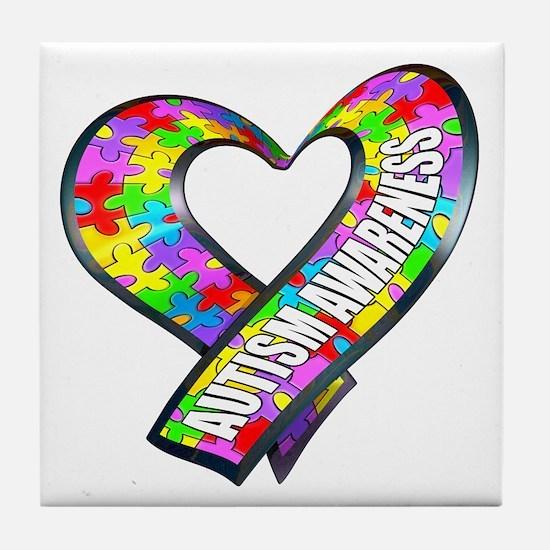 Puzzle Ribbon Heart Tile Coaster