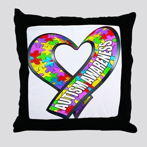 Puzzle Ribbon Heart Throw Pillow